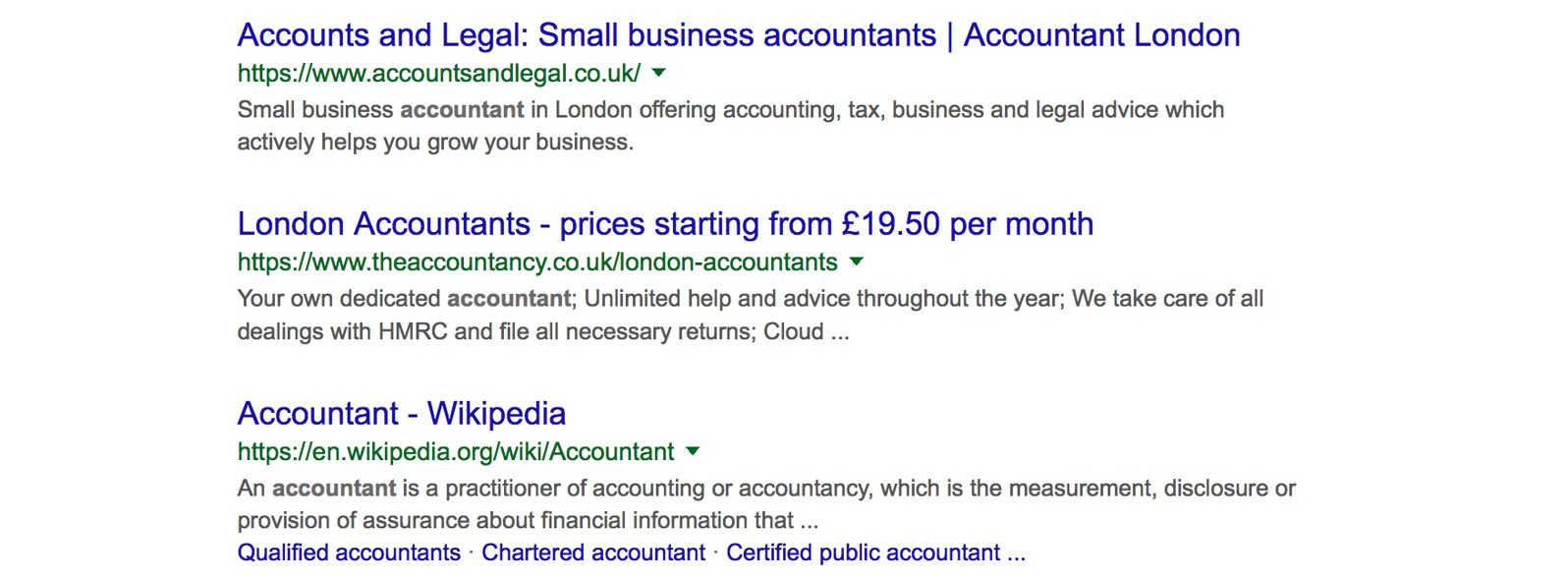Google search result for accountant keyword