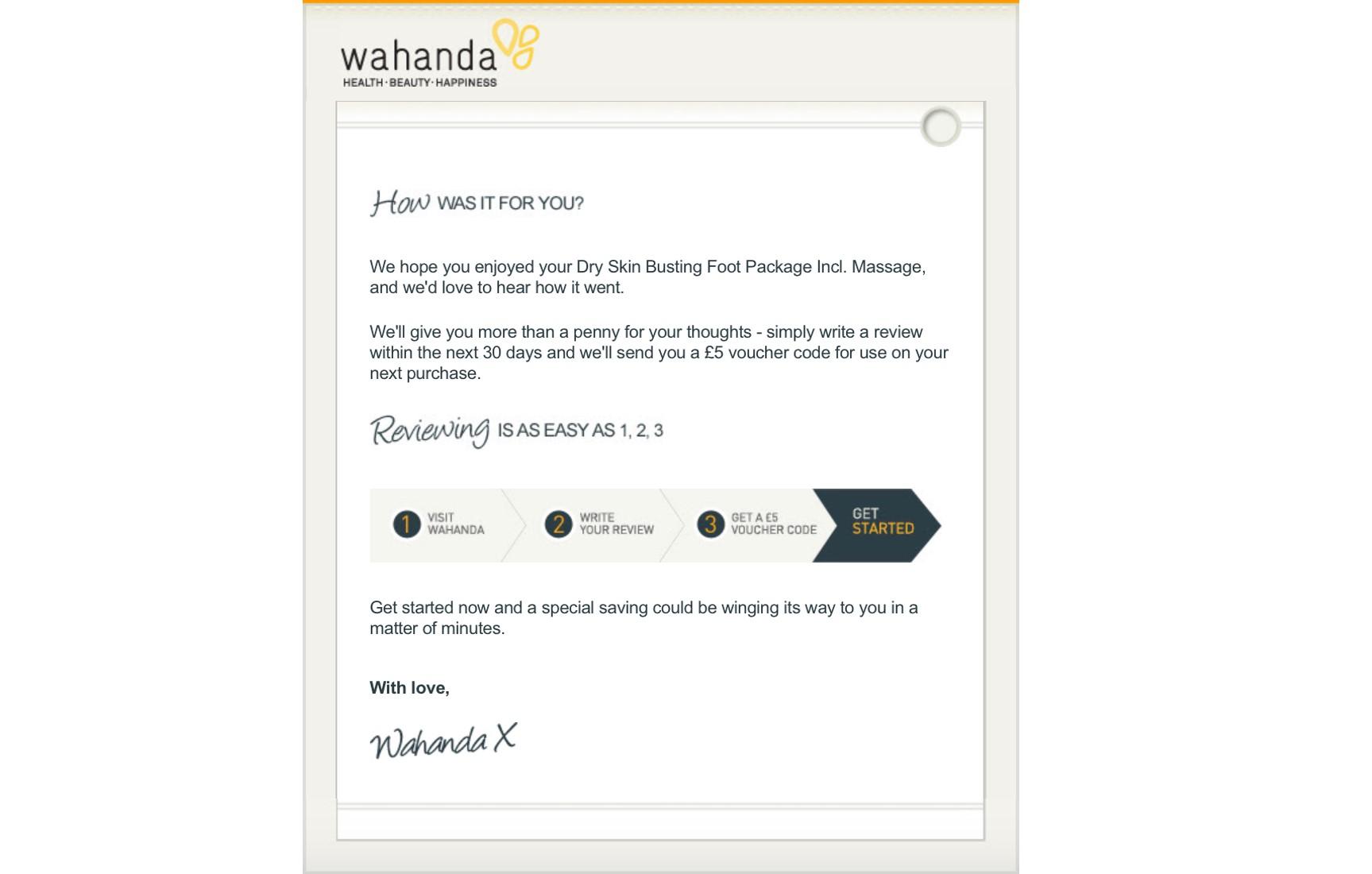 Screenshot of email from Wahanda