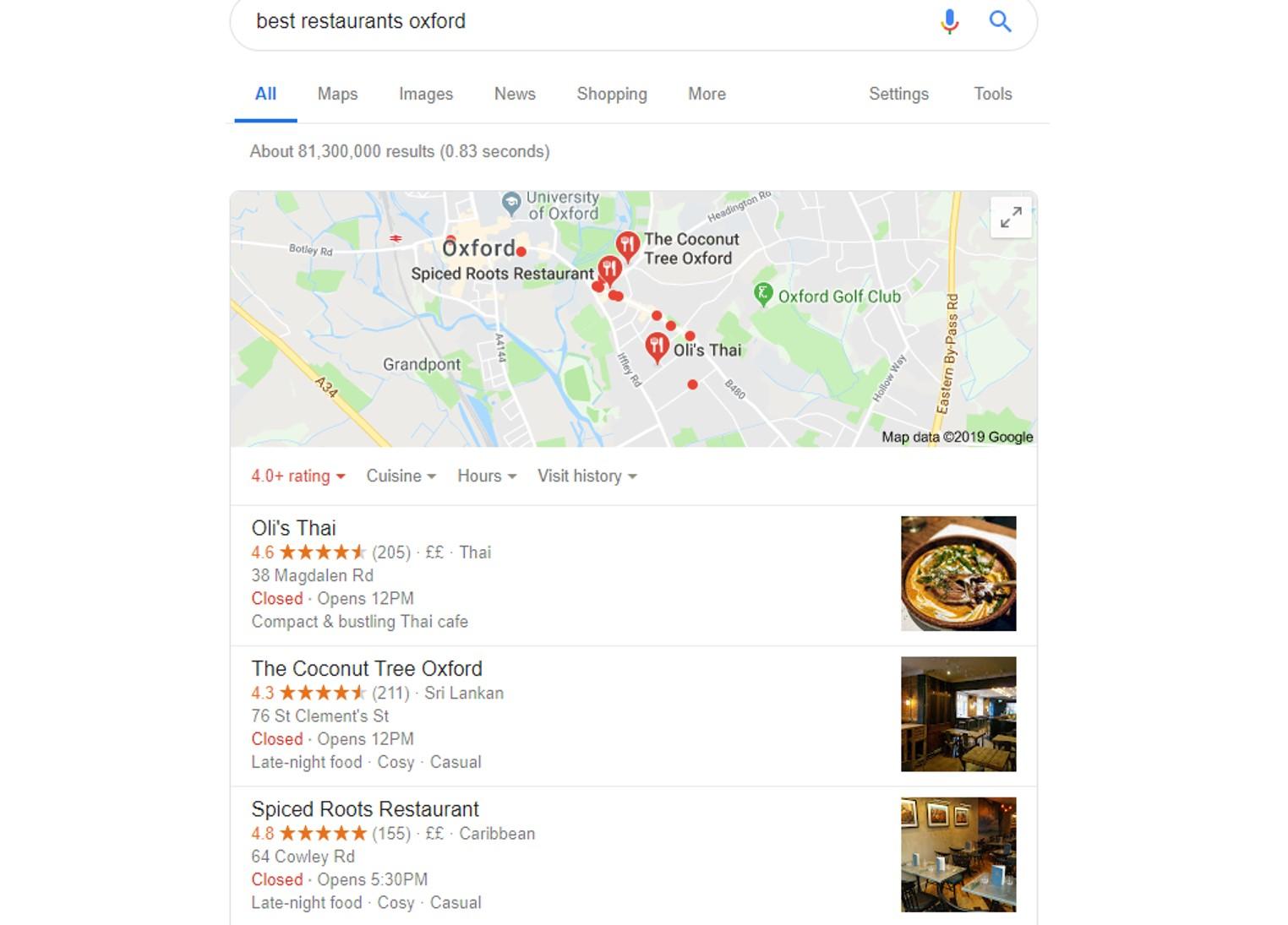screenshot of Google My Business listings