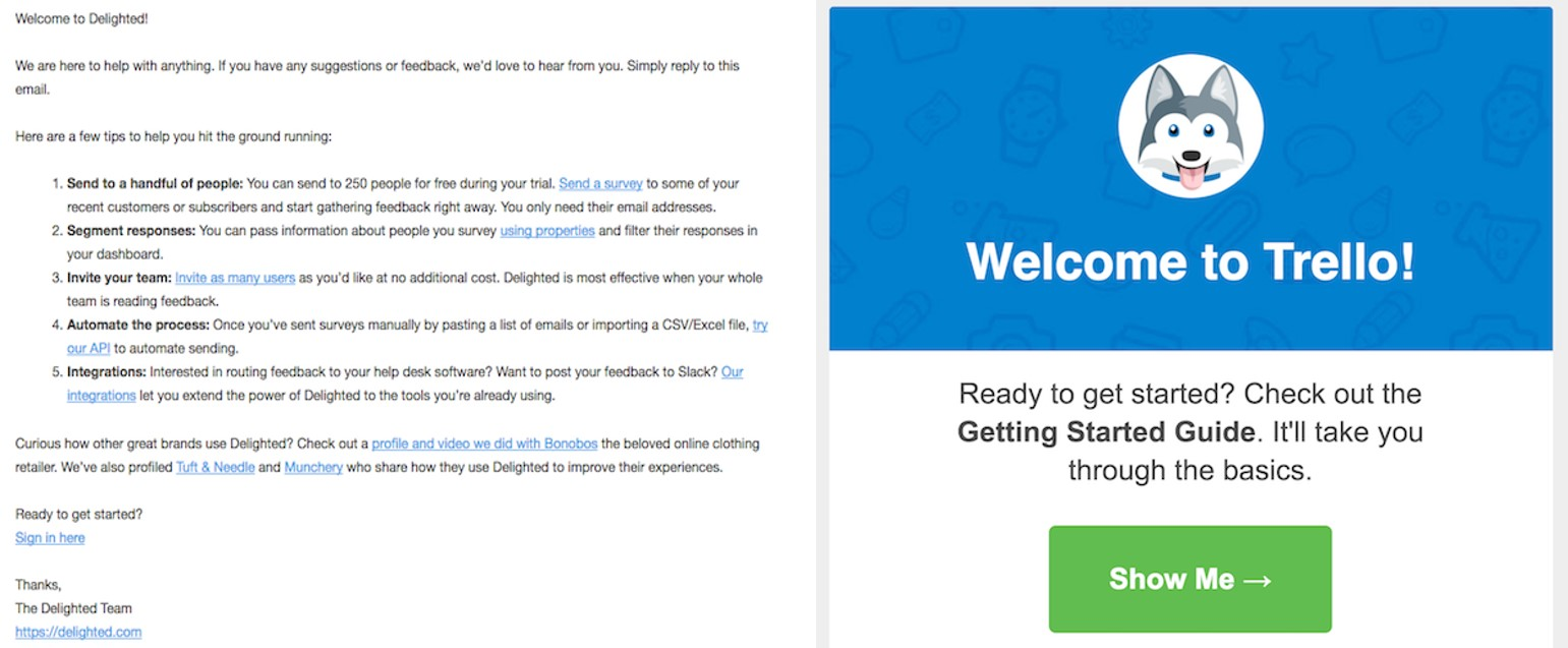 Screenshots of two welcome emails side by side