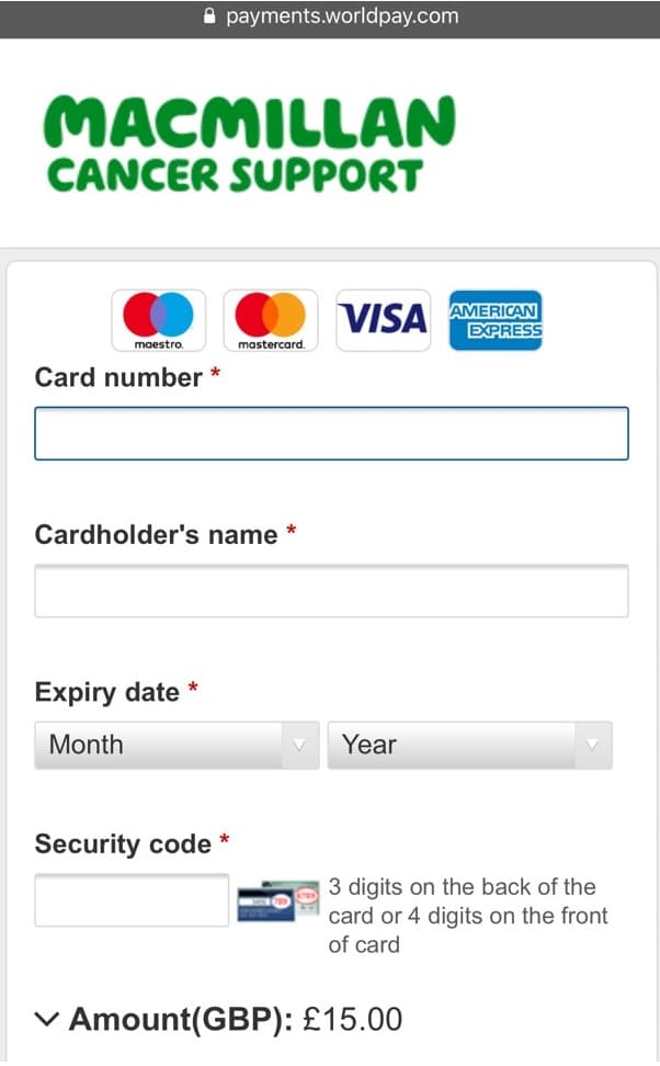 Macmillan donations mobile page