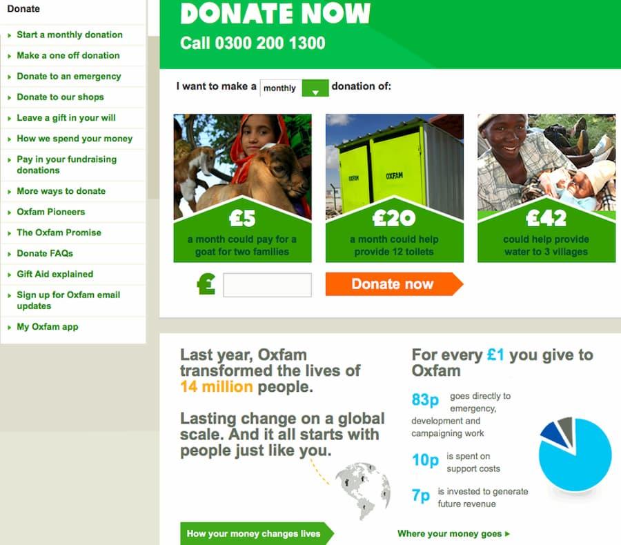 Oxfam direct debit website screenshot