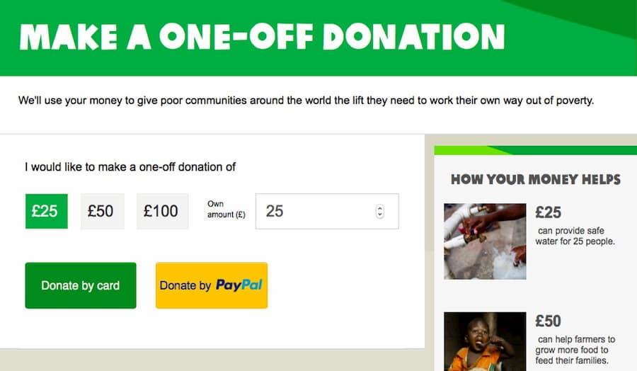 Oxfam donations website