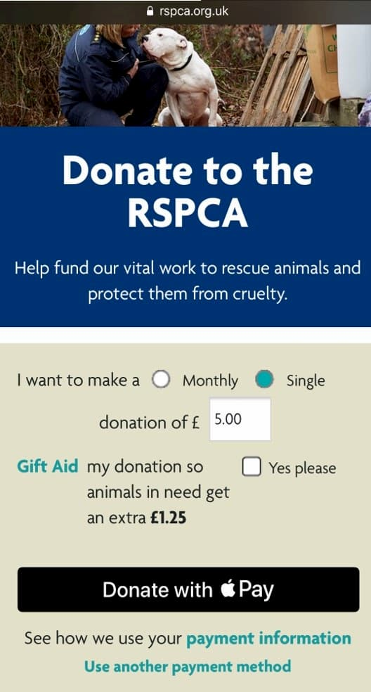 RSPCA mobile website