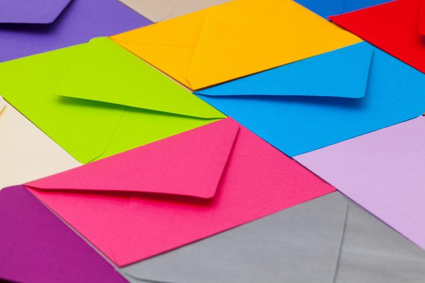 brightly coloured envelopes