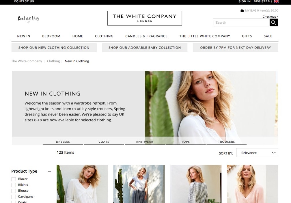 The White Company website homepage