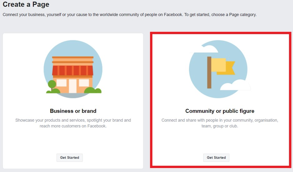 Create charity Facebook page