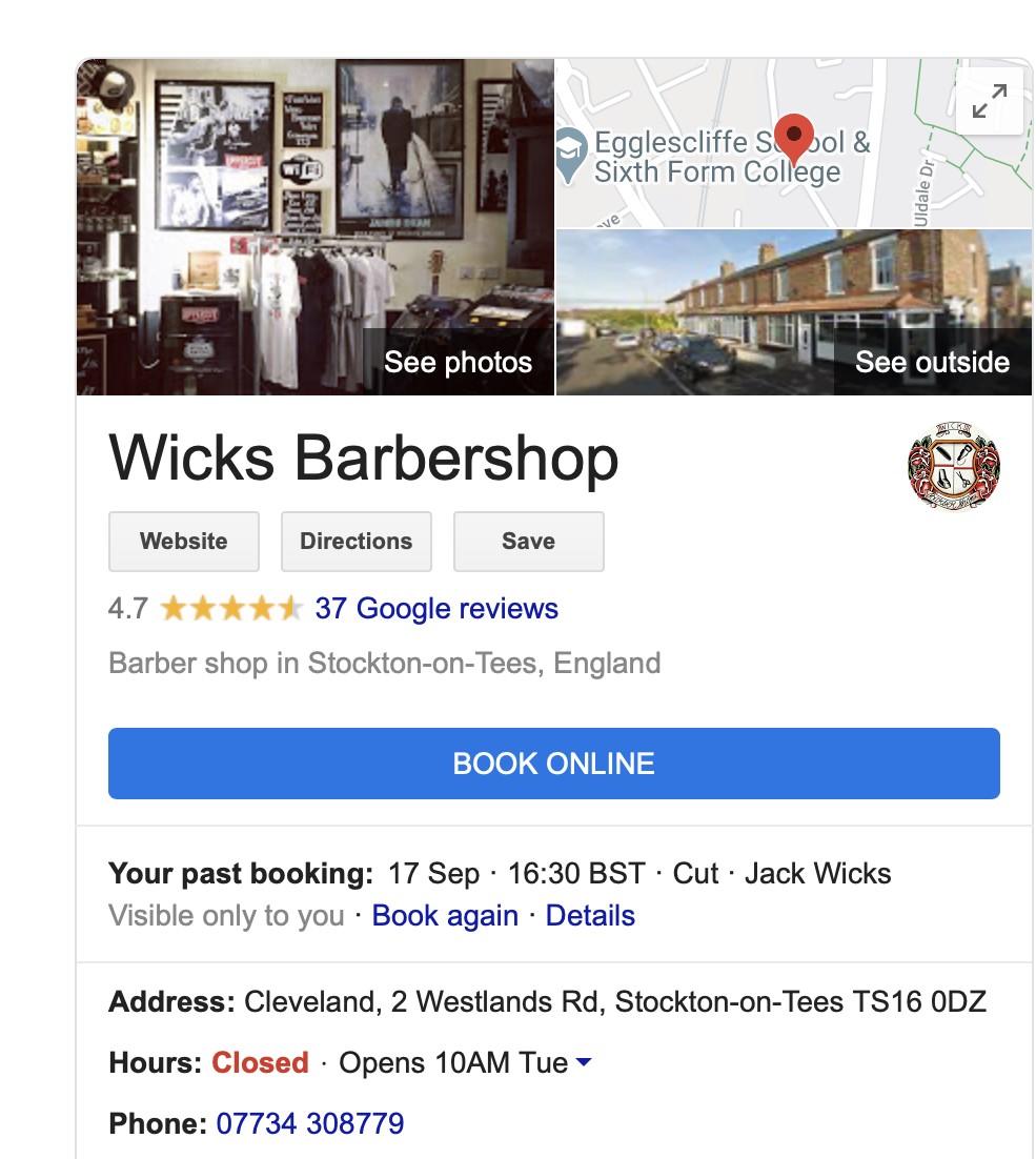 Google My Business book online button