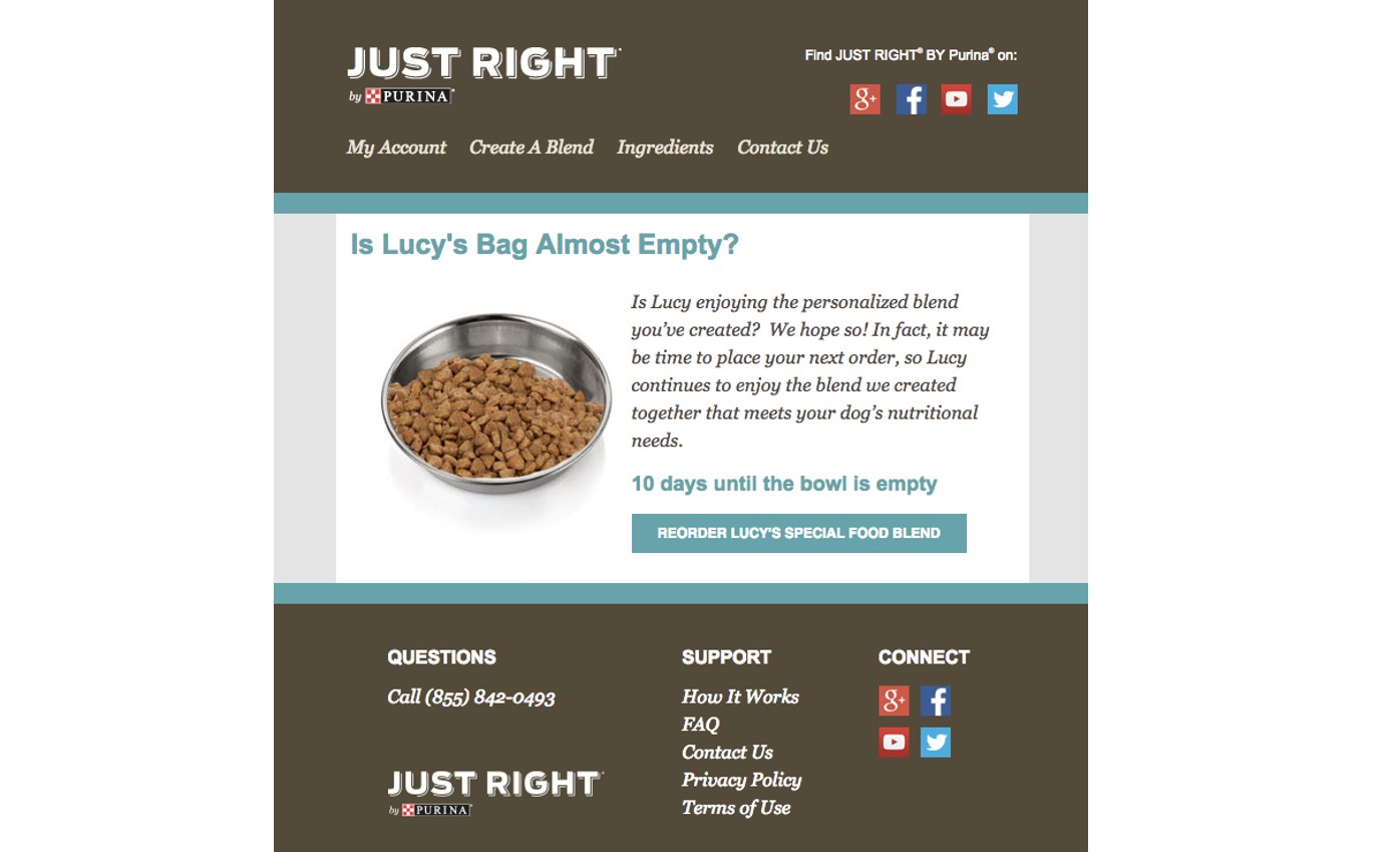 Just Right by Purina email