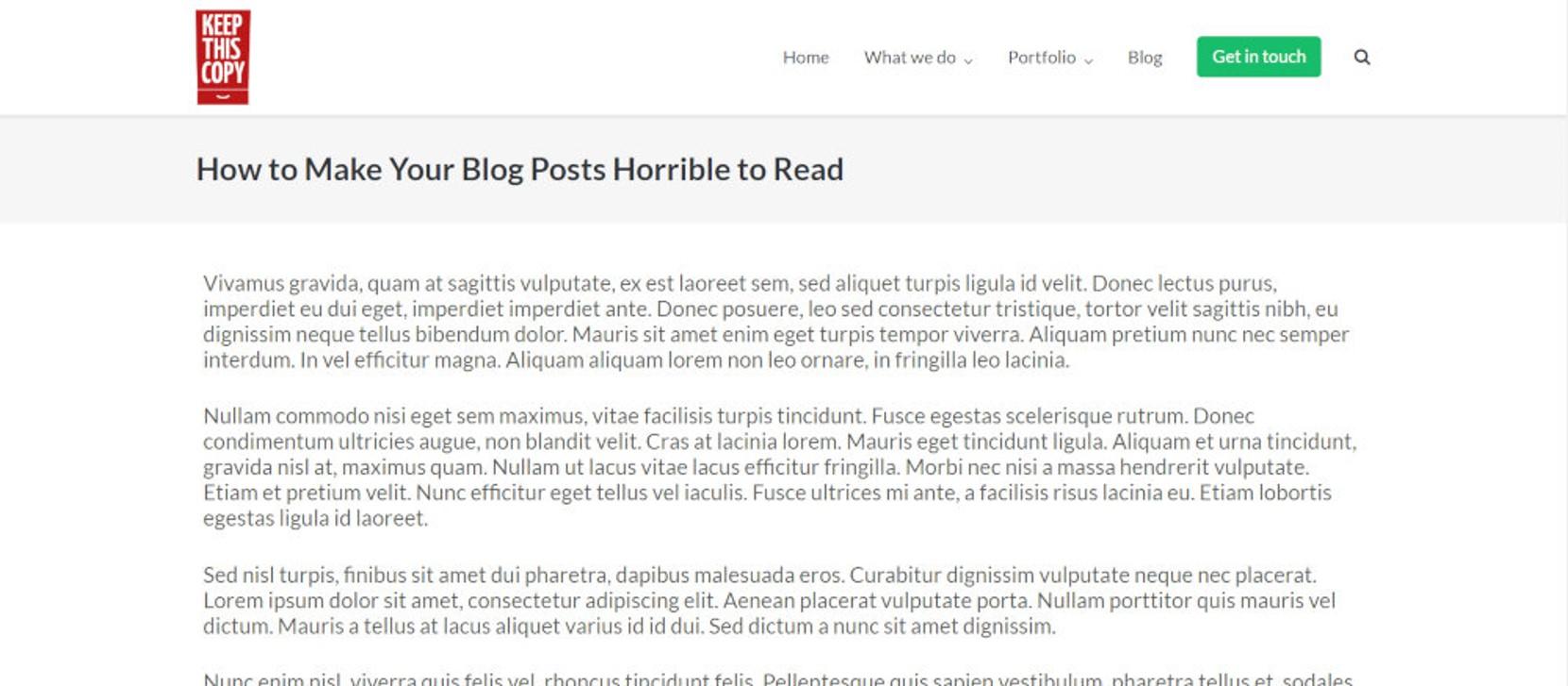 blog layout screenshot