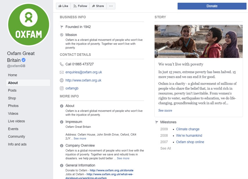 Oxfam Facebook 'about' page