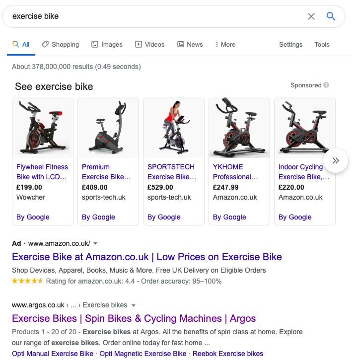 Google shopping ads for exercise bike