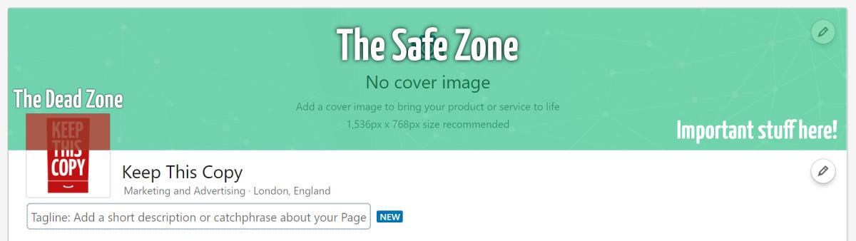 LinkedIn cover photo safe zone diagram