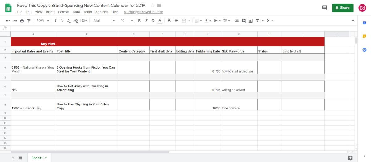Adding events to content calendar