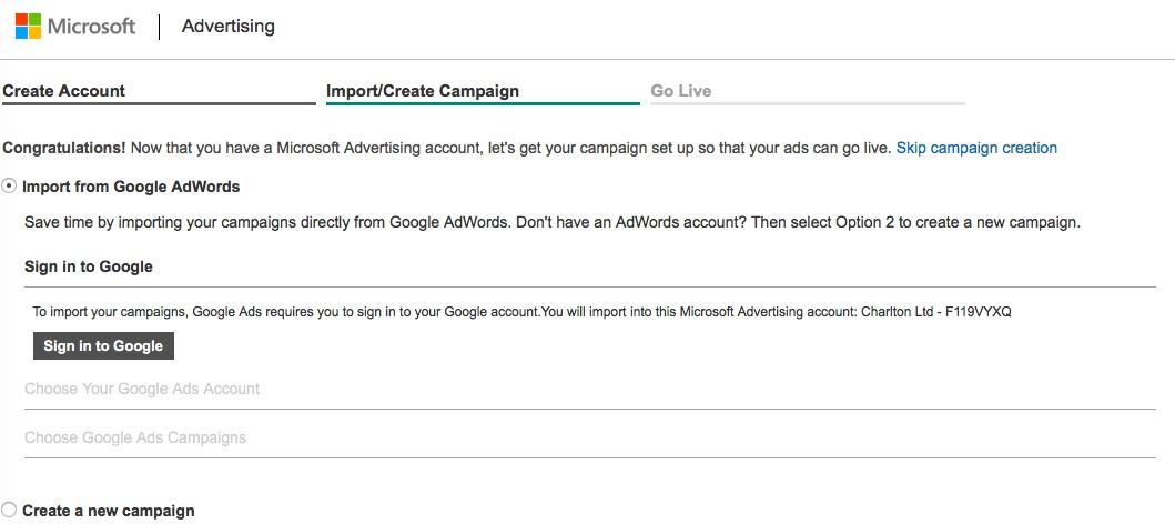 Bing Ad account setup