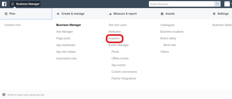 Facebook Analytics in Business Manager menu