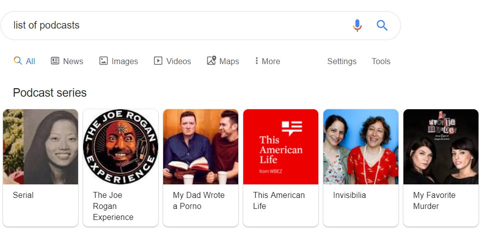 list of podcasts in Google search