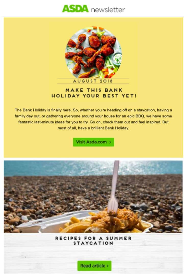 ASDA bank holiday newsletter suggestions
