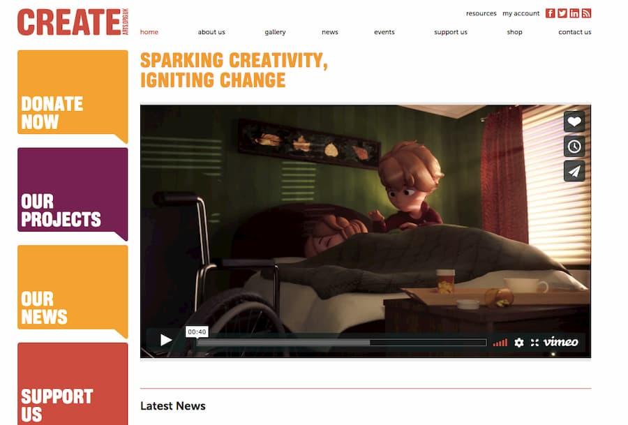 Create charity website screenshot
