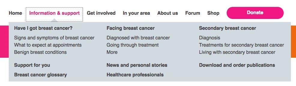 Breast cancer care navigation bar screenshot