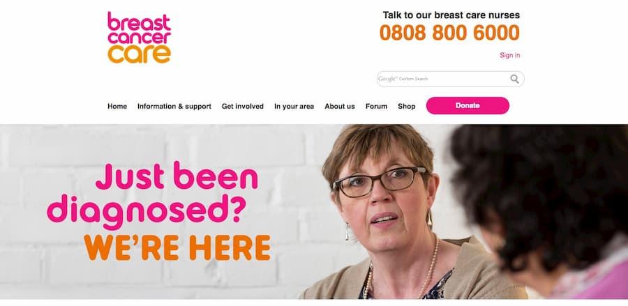 Breast cancer care website screenshot