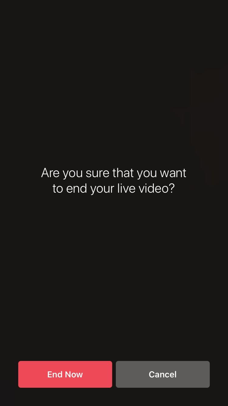 Instagram Live end screen
