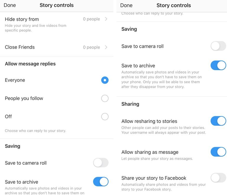 Instagram Live story controls