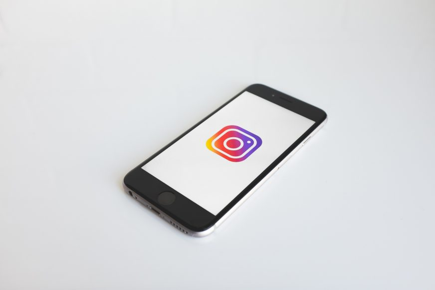 Mobile phone with an Instagram logo on the screen