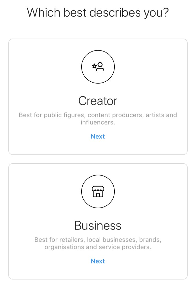 Business account options on Instagram