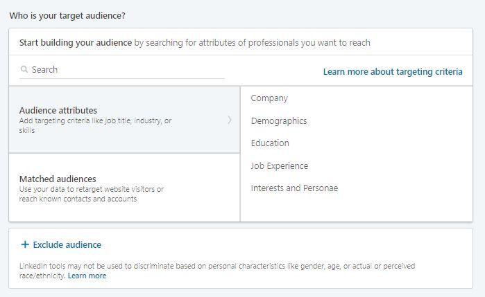 LinkedIn Ads: audience targeting