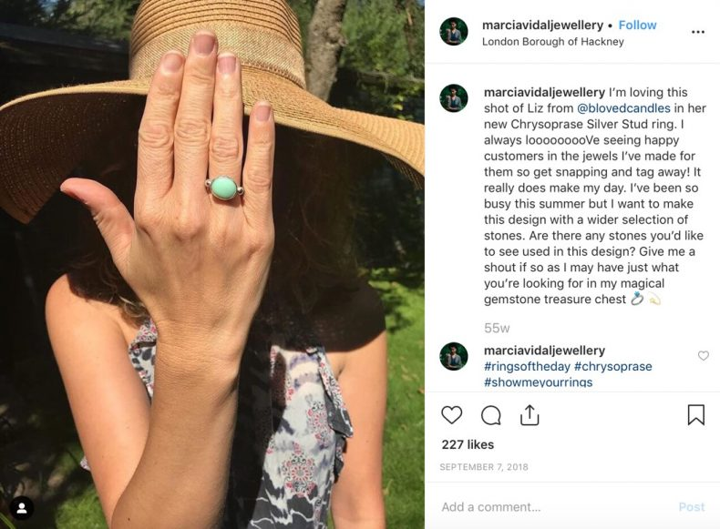 Marcia Vidal Jewellery Instagram post
