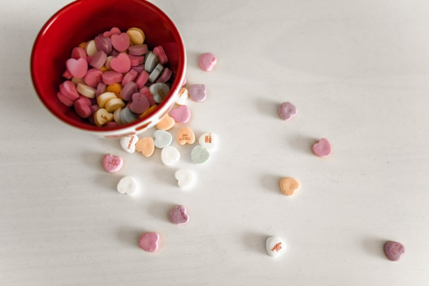 bowl of heart shaped sweets