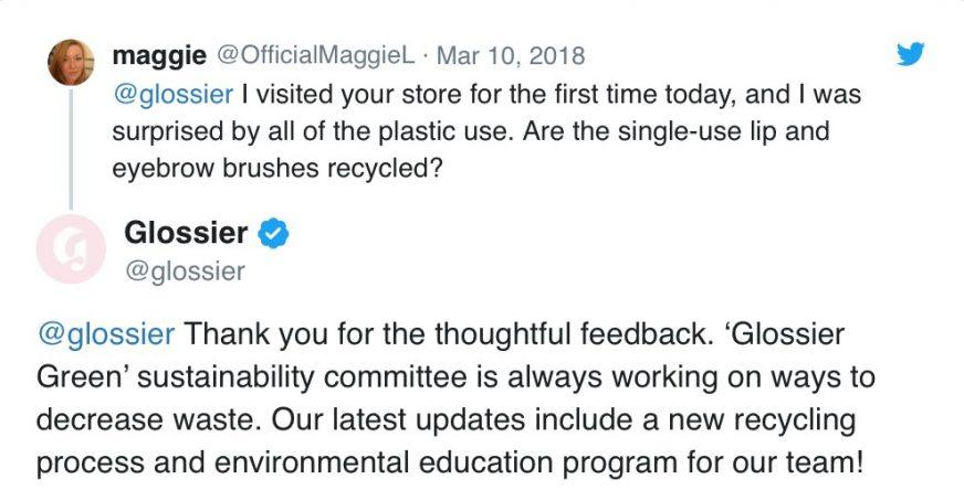 Glossier customer service on Twitter
