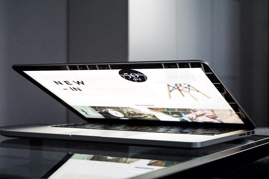 website on open laptop