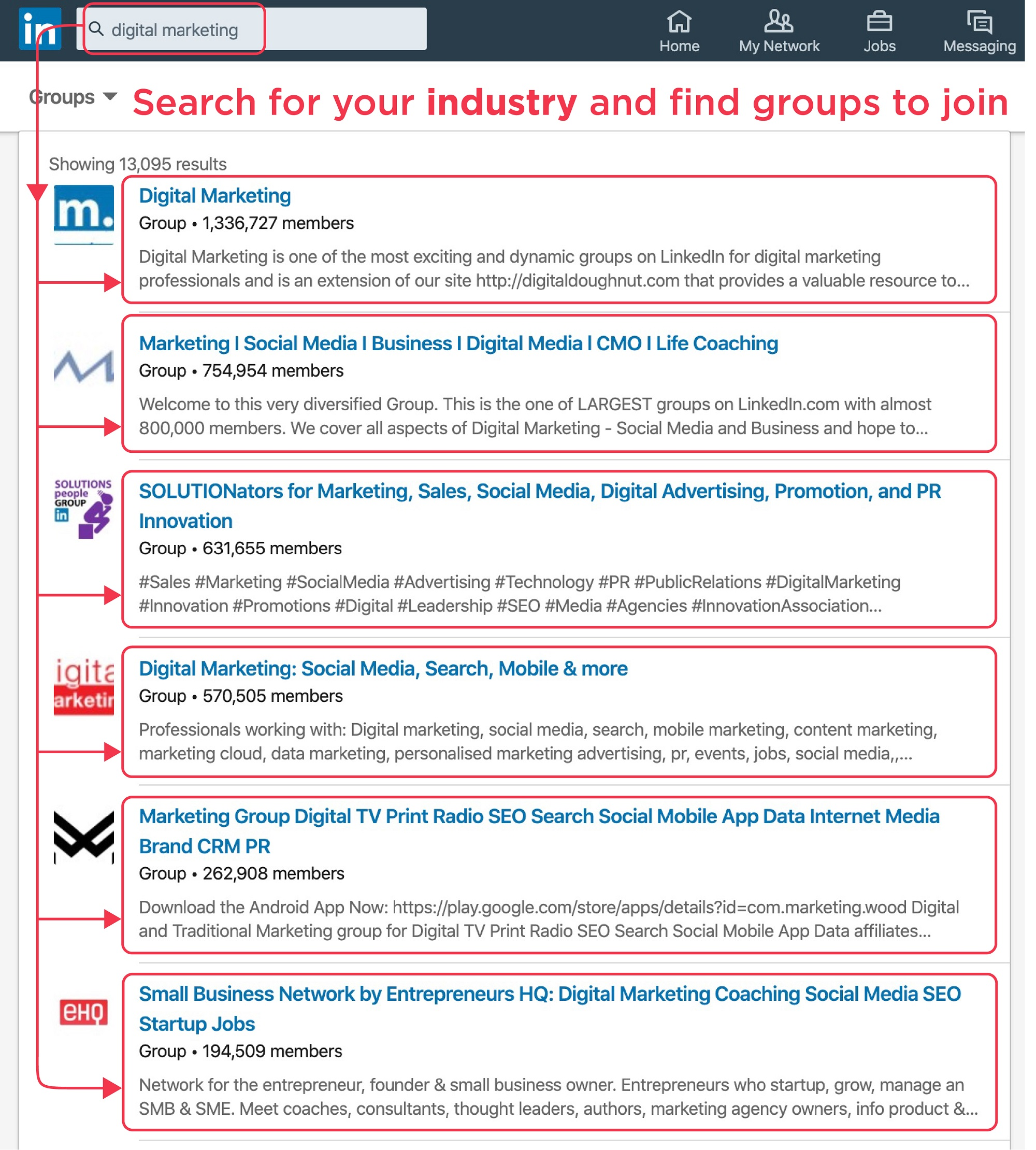 LinkedIn Groups screenshot