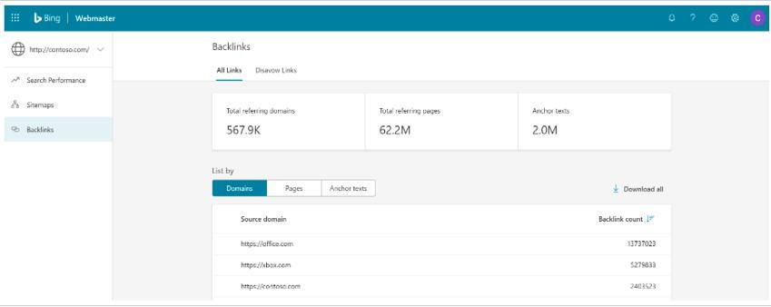 Bing Webmaster Tools link report