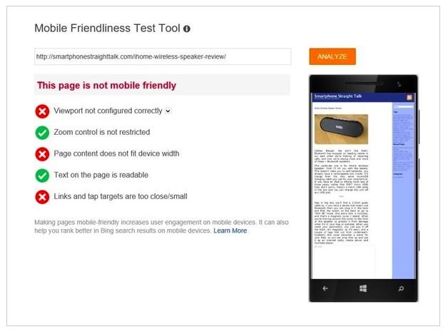 Bing Webmaster Tools mobile friendliness test