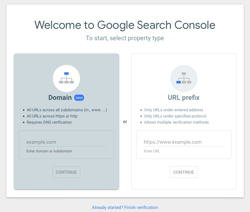 Google Search Console set up screen