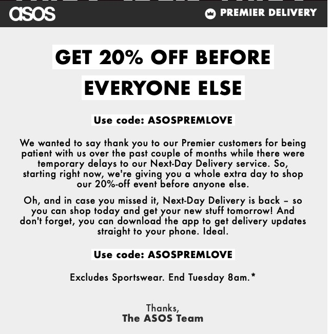 ASOS thank you email