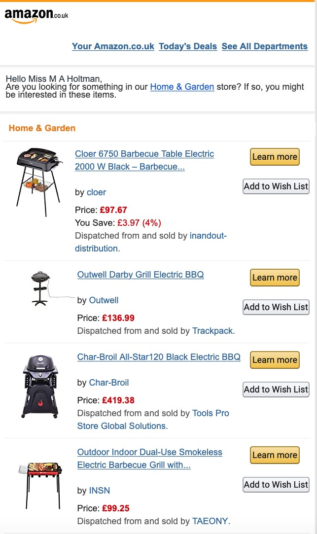 Amazon recommendation email