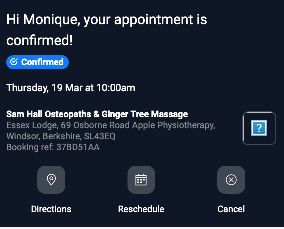 Appointment reminder email