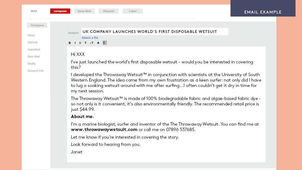 Press release email example