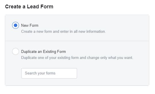Create a lead generation form Facebook