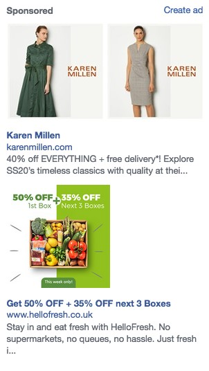 Examples of Facebook adverts