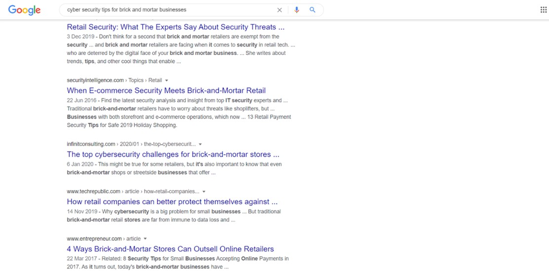 Google search for cyber security keywords