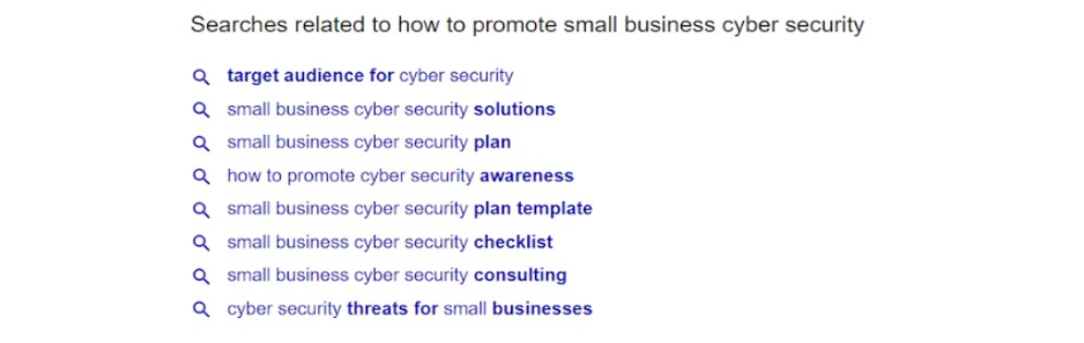 Cyber security related searches on Google