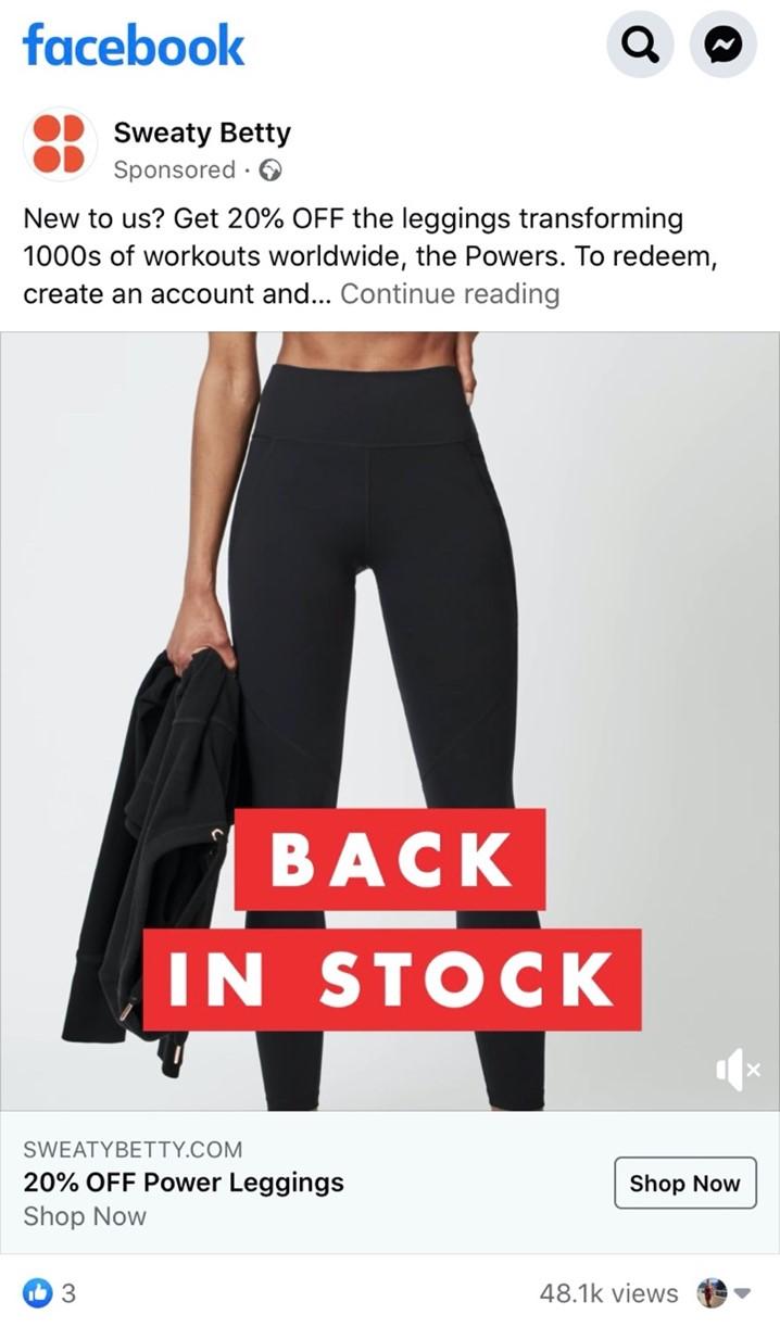 Facebook advertising example