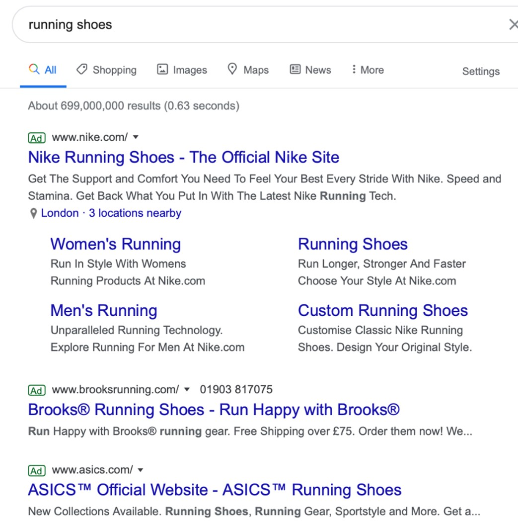 Pay-Per-Click example on Google