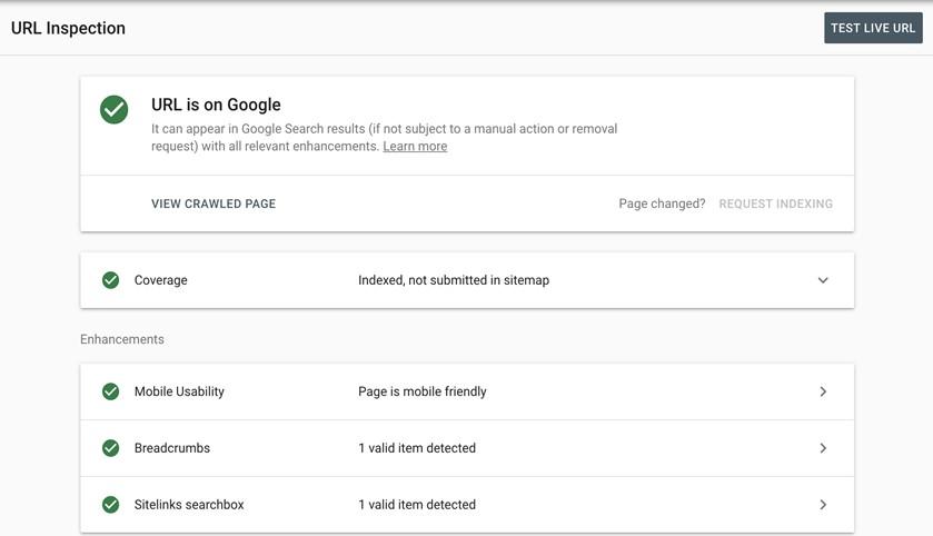 Google URL Inspection tool