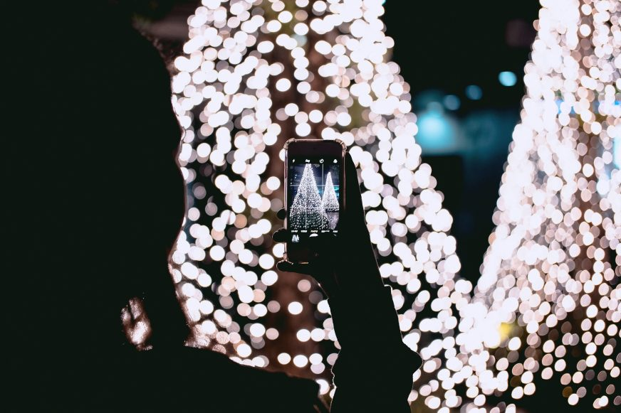 Christmas tree photo on phone